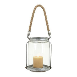 """BZBZ55479 - Lantern with Solid Design and Mottled Silver Finish - Lantern with Solid Design and Mottled Silver Finish. Personifying elegance and functionality, this metal glass lantern is designed to perfection. It comes with a following dimensions 7""""W x 7""""D x 19""""H. 10""""H."""