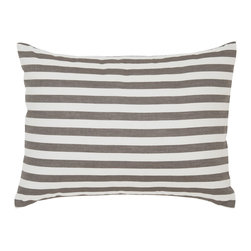 "DwellStudio - DwellStudio Home Draper Stripe Ash Pillowcase Set - Final Sale - The DwellStudio Draper Stripe Ash Pillowcase Set is yarn-dyed, giving this fabric a rich, buttery feel. Each piece made with luxurious 400 thread count cotton percale.  Available in standard and king sizes. DwellStudio prints are created using low-impact dyes. They contain no heavy metals or other known toxic substances and meet all criteria for eco-friendly pigments. New packaging utilizes eco-friendly alternatives that have completely eliminated the use of PVC. Bedding comes in bags or boxes that can be reused for zero waste. It's chic with a conscience. Machine wash separately in cold water. Do not use bleach or detergents containing bleach. Tumble Dry low. Warm iron if necessary.  Set includes 2 standard cases 20"" x 26"""
