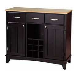 Home Styles - Home Styles Furniture Wood Top Large Buffet in Black - Home Styles - Buffet Tables & Sideboards - 51000041 - Smartly styled and equally practical for any dining or entertaining area the Home Styles Large Buffet and 2-Door Hutch has every one of your serving needs covered. Beginning with a lengthy hardwood table top ideal for any task this buffet is amply equipped with three spacious pull drawers an open central shelf above a 9-bottle wine rack and two large adjustable shelf compartments with inset-paneled doors.