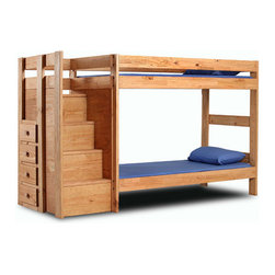 Solid Wood Twin/Twin Bunk Bed With Stairs 394_(PC) - Solid Pine Wood Bunk Bed with Stairs. Built into the stairs are 4-usable drawers. Comes ready to assemble. The Stairs are shipped assembled. Strong Construction. The price includes the Bed and The Stairs. Mattress is not included in the Price. Can be made extra long.