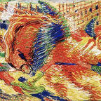 The City Rises 13.046 x 22 Art Print On Canvas - The City Rises by Umberto Boccioni Size: 13.046 x 22 Art Print Poster Canvas.  Transfer stretched, canvas museum wrap, comes ready to hang. Canvas board is an off white color.