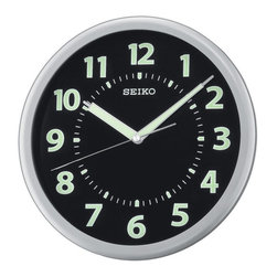 Seiko - Seiko Glow in the Dark QXA435SLH 10.25-in. Wall Clock Multicolor - QXA435SLH - Shop for Clocks from Hayneedle.com! Keep time in chic modern style with the Seiko QXA435SLH 10.25-in. Wall Clock. With its brushed silver metal frame this round wall clock has a black dial with glow-in-the-dark hands numerals and hour markers. Ideal for your home kitchen office or classroom this contemporary clock features precise quartz movement and requires one AA battery which is included.About SeikoOver its 120-year history as a maker of fine timepieces the Seiko name has become synonymous with cutting-edge technology ultra-precision constant innovation and refinement. Millions worldwide rely on Seiko wristwatches to keep them on schedule. Two generations have grown up thrilling to Olympic and World Cup competitions where victory or defeat is defined within a fraction of a second all overseen by Seiko timekeepers.Seiko's far-reaching modern empire has its roots in a humble Tokyo clock repair shop opened by Kintaro Hattori in 1881 nearly a century before the introduction of its first landmark wristwatch. Today Seiko continues to offer a wide array of clocks and movements for any home including wall alarm desk mantel musical and heirloom quality decorative pieces. Beautiful on the outside quality components on the inside Seiko products will serve you for years to come.