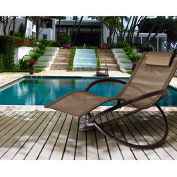 Bellini Andover Wave Brown Rocking Chaise Lounge -