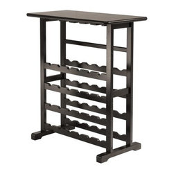 Winsome Wood - Vinny Wine Rack, 24-Bottle - Our Vinny Wine Rack that holds 24 bottles and stemware is attractive yet discrete. This wine rack is ideal for party time. It is made up of solid wood in black Finish.
