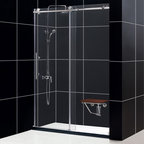 "BathAuthority LLC dba Dreamline - Enigma-X Fully Frameless Sliding Shower Door, 56 - 60"" W x 76"" H - The Enigma-X sliding shower door is the epitome of style, innovation and quality. The sleek fully frameless design and high functioning performance deliver the look and feel of custom glass at an exceptional value. The impressive 3/8 in. thick tempered glass is factory treated with dream line exclusive clear glass protective coating for superior protection and easy maintenance. The substantial Stainless Steel hardware is the perfect marriage of urban style and effortless operation. Take your bathroom design to the limit with the high quality and sublime styling of the Enigma-X sliding shower door."