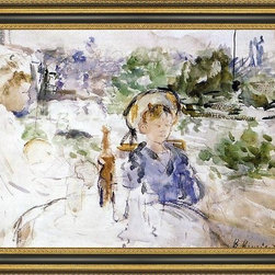 """Art MegaMart - BerMorisot Luncheon Countryside - 16"""" x 24"""" Berthe Morisot Luncheon in the Countryside framed premium canvas print reproduced to meet museum quality standards. Our Museum quality canvas prints are produced using high-precision print technology for a more accurate reproduction printed on high quality canvas with fade-resistant, archival inks. Our progressive business model allows us to offer works of art to you at the best wholesale pricing, significantly less than art gallery prices, affordable to all. This artwork is hand stretched onto wooden stretcher bars, then mounted into our 3 3/4"""" wide gold finish frame with black panel by one of our expert framers. Our framed canvas print comes with hardware, ready to hang on your wall.  We present a comprehensive collection of exceptional canvas art reproductions by Berthe Morisot."""