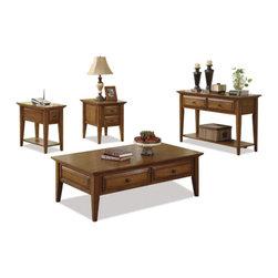 Riverside Furniture - Riverside Oak Ridge 4-Piece Accent Table Set in Warm Oak - Riverside Furniture - Coffee Table Sets - 44020910154PCPKG