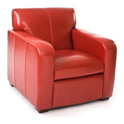 Zentique - Zentique Leather Club Chair-Red - Red leather club chair by Zentique.