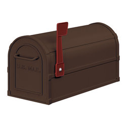 "Salsbury Industries - Antique Rural Mailbox - Bronze - Made entirely of aluminum, Salsbury U.S.P.S. approved 4800 series antique rural mailboxes are available in four (4) attractive powder coated finishes.  These mailboxes provide an antique look that adds elegance to any home.  Each antique rural mailbox features a 1/8"" thick extruded aluminum body and a 1/8"" thick die cast aluminum front door and rear cover.  Each mailbox includes a magnetic door catch and an adjustable burgundy signal flag.  The die cast door is attached to the body with a full width stainless steel hinge allowing for smooth operation.  Antique rural mailboxes can be mounted on standard, classic, decorative or deluxe mailbox posts, spreaders or a base of your choice.  Antique rural mailboxes are approved for U.S.P.S. curbside mail delivery and are manufactured to USPS-STD-7B specifications.  Salsbury Industries is an ISO 9001:2008 certified company and has excelled in the field of manufacturing since 1936."