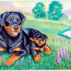 Caroline's Treasures - Rottweiler Kitchen or Bath Mat 24x36 - Kitchen or Bath COMFORT FLOOR MAT This mat is 24 inch by 36 inch.  Comfort Mat / Carpet / Rug that is Made and Printed in the USA. A foam cushion is attached to the bottom of the mat for comfort when standing. The mat has been permenantly dyed for moderate traffic. Durable and fade resistant. The back of the mat is rubber backed to keep the mat from slipping on a smooth floor. Use pressure and water from garden hose or power washer to clean the mat.  Vacuuming only with the hard wood floor setting, as to not pull up the knap of the felt.   Avoid soap or cleaner that produces suds when cleaning.  It will be difficult to get the suds out of the mat.