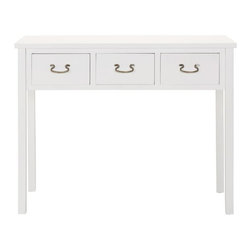 Rachael Console - The timeless, rectangular structure of the Rachael Console presents a sleek, attractive console for your entryway, living room, or dining room. Featuring three roomy drawers and ample surface area, this console gives you the choice of what you want visible, or hidden and stored.
