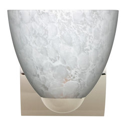 Besa Lighting - Besa Lighting 1WZ-757219-CR Sasha II Carrera Chrome One Light Wall Sconce - Sasha II has a classical bell shape that complements aesthetic, while also built for optimal illumination. Our Carrera glass is a classic yet modern dEcor that gives off a soft white light. Clear molten glass is rolled in alabaster powder like frit, and then blown into shape with a semi-clear frosted white inner finish. This dEcor is created by rolling molten glass in small bits of white called frit. The smooth satin finish on the clear outer layer is a result of an extensive etching process. This blown glass is handcrafted by a skilled artisan, utilizing century-old techniques passed down from generation to generation. Each piece of this dEcor has its own artistic nature that can be individually appreciated. The minisconce fixture is equipped with a sleek arcing diecast lampholder and matching radiused rectangular canopy. These stylish and functional luminaries are offered in a beautiful Chrome finish.