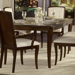 "Homelegance - Homelegance Abramo Extension Dining Table in Walnut - Retro-contemporary design takes an exotic twist in the Abramo Collection. Sapele veneers lend to the unique high and low-lights that flow over each piece of this modern dining offering. Exuding sophistication with each curve of the bow-fronted china and server, nickel hardware shines as the ultimate design punctuation. Solid back chairs feature book-match Sapele veneers and white bonded leather seating – front of seat backs feature button tufting. Door and drawer storage adds to the functionality of the collection, providing the extra space you need for your tabletop decor. - 2125-102.  Product features: Retro-contemporary design; Sapele veneers; Extension: 66"" - 84"" - 102""; Rectangular Table Top Shape; Walnut finish. Product includes: Dining Table (1). Extension Dining Table in Walnut belongs to Abramo Collection by Homelegance."