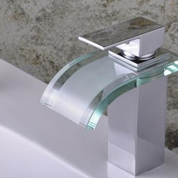 Model 0822 - Modern LED and Glass Waterfall Bathroom Basin Faucets -