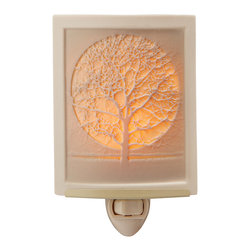 Inova Team -Modern Steel And Porcelain Handmade Nightlight - Bring the quiet magic of the forest at night to your home with this simply chic nightlight, showcasing a full moon peeking through an array of delicate branches.