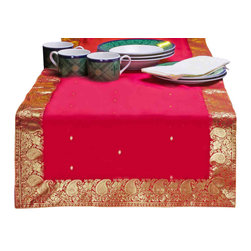 Indian Selections - Hand Crafted Fire Brick Table Runner, 14 X 70 Inches - Fabric: Poly Art Silk Sari fabric