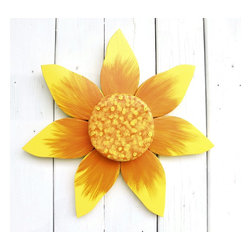 Souvenir Farm, Ltd. - Orange & Yellow Sunflower Wreath | Wood Wall Art Flower | Outdoor Garden Decor - Bright orange and yellow highlight this cheerful sunflower wreath, hand crafted from wood.