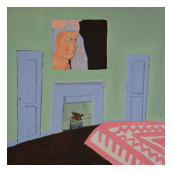 No.M2134 Baby Face, Original, Painting - 12 x12 a bedroom in provence, spare and colorful with a simple portrait of a cherubic baby over the old fireplace.