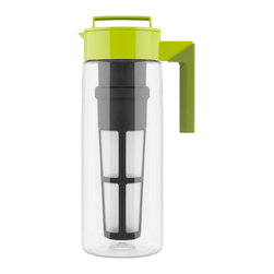 Takeya Flash Chill Tea Maker Avocado - Make great tasting fresh brewed whole leaf iced tea in minutes. The Takeya Flash Chill Tea Makers brew  chill  serve and store whole leaf iced tea in just one pitcher. The premium rotating Tea Infuser expertly brews loose leaf tea or tea bags  providing the tea leaves with ample room to expand and bloom in the hot water. Unlike bottled and canned teas  Takeya��s Flash Chill method is fresh and natural  eco-friendly  and saves you money.  Product Features      2 Qt. Flash Chill Tea Maker makes about 8 glasses of iced tea   Clean & easy  put Takeya pre-measured tea in infuser  brew  chill  & serve   Airtight  twist lid locks in freshness and flavor   Large  removable infuser enhances and extracts full flavor   Stain  cloud  and odor proof   Durable  high temperature acrylic with glass-like clarity   Leak-proof  can store on it's side   Dishwasher safe and shatterproof   Interchangeable accessories available