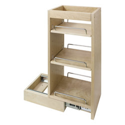 """Hardware Resources - Wall Cabinet Pullout.  5"""" x 10-1/2"""" x 24"""". - Wall Cabinet Pullout.  5"""" x 10 1/2"""" x 24"""".  Featuring 100# full extension ball bearing slides  adjustable shelves  and clear UV finish.  Species:  Hard Maple.  Ships assembled with removeable shelves and shelf supports."""