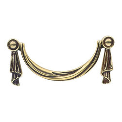 "Renovators Supply - Drawer Pulls Antique Brass Drawer Pull 4 1/4 W 3 3/4 boring | 18244 - Antique Drawer Pulls. This drawer pull has an overall length of 4 1/4"". The rosettes on the back have a diameter of 3/4"". The boring is 3 3/4""."