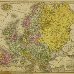 Consignment Original Antique Map of Europe, 1839 - Original antique map of Europe showing countries, length of rivers and cities, 1839. Over 170 years old. Engraving with original hand color.
