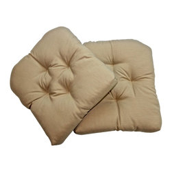 US Bedding - Beige Diamond Tufted Wicker Chair Pad (Set of 2) - All cushions are designed to fit most sizes of patio furniture and are filled with eco-friendly quick drying polyester fiber fill. Proudly Manufactured in the USA. Does not come with ties.