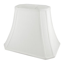 American Heritage Shades - Fabric Lampshade in White w Fitter (10 in. Diam x 8.75 in. H) - Choose Size: 10 in. Diam x 8.75 in. HLampshade Types. Shantung faux silk with off-white fabric liner. Hand made. Matching top, bottom and vertical trim. Corner cut rectangle bell shape. Enhances lamp and room decor. Made from polyester. Fitter in brass color. Made in USA. No assembly required