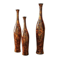 Mottled Red and Gold Vases - Set of 3 - About the Howard Elliott CollectionThe Howard Elliott Collection is one of the premiere manufacturers of decorative mirrors and accessories in the home furnishings industry. Howard Elliott offers innovative designs in a wide variety of styles, and the company prides itself on its high standards and quality. No matter your style, the Howard Elliott Collection offers pieces that are sure to add sophistication and luxury to your decor.