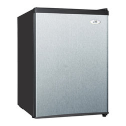SPT - SPT Energy Star 2.4 Cubic Foot Stainless Steel Refrigerator - The flush back,compact design of this SPT mini refrigerator makes it ideal for college dorm rooms or the office,and is perfect for counter-top placement. The unit features a tall bottle door rack,7-inch-wide freezer and an adjustable thermostat.
