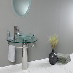 Fresca - Fresca Attrazione Modern Glass Bathroom Vanity w/ Frosted Edge Mirror - Perfect for creating a spa-style look to your bathroom, the Attrazione glass vanity and frosted edge mirror from Fresca combines attractive looks with practicality. The vanity incorporates enough space for toiletries, as well as a handy towel rail too. The vanity comes complete with the tempered glass vessel sink and p-trap. Attrazione Bathroom Vanity Details:   Dimensions: Vanity: 28 3/4W x 18 1/4D x 34 1/4H, Mirror: 24W x 31 1/2H Material: tempered glass vessel sink, stainless steel Includes mirror Vessel faucet mount Please note: faucet not included