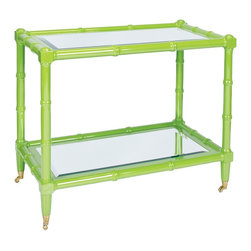 Worlds Away Palm Green Lacquer Wooden Bar Cart, Beveled Mirror Top - Your party will be a hit when you serve up cocktails on this bamboo in green bar cart. Cheers!