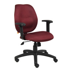 "Boss Chairs - Boss Chairs Boss Burgundy Task Chair w/ Adjustabl Arms - Mid-back styling with firm lumbar support. Elegant styling upholstered with commercial grade fabric. Sculptured seat cushion made from molded foam that contours to the shape of your body. Ratchet back height adjustment mechanism which allows perfect positioning of the back cushion and lumbar support. Optional adjustable height armrests. Large 27"" nylon base for greater stability. Pneumatic gas lift provides instant height adjustment of the seat. Adjustable tilt tension that accommodates all different size users. Hooded double wheel casters. Upright locking position."