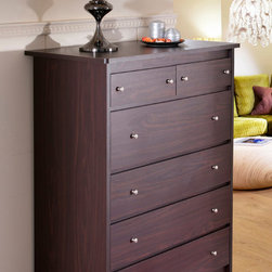 Furniture of America - Furniture of America Misheline Modern Century 6-drawer Walnut Chest - Keep your bedroom organized in style with this contemporary six-drawer chest. Featuring a dark finish and delicate hardware, this chest makes a handsome addition to your home. The metal glides make each of the drawers easy to open and shut.