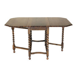 Antiques - Antique English 4.5Ft Solid Oak Barley Twist Occasional Gateleg Table - This is a gorgeous antique English 4.5ft solid oak barley twist pie crust occasional gateleg table. It has a very beautiful top surface and it has a very nice finish with good wood grain quality and a very attractive pie crust edge. Since it is a gateleg table the sides conveniently fold down and they extend the table from 17.75in to 53.25 inches. It has a traditional skirt and it features gorgeous barley twist legs with a box stretcher and lovely pear feet. It may have some light dents on its surface, otherwise this table is amazingly in very good cosmetic and structural condition and it is strong and sturdy. This is an outstanding piece of furniture that will be cherished for many years! Dimensions (In inches)Top Surface 28.75H x 51.75W x 34.25D