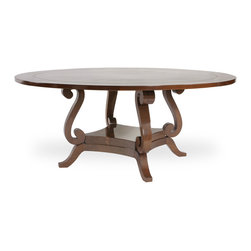 Lute Dining Table - Shown in walnut solids and pie veneer construction.  Shown with optional perimeter leaves. Available in other wood species, specialty veneers and finishes. Available to any dimensions and specifications.