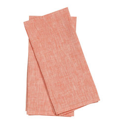 Birdkage - Salmon Tea Towels - With their fresh salmon color and loose linen weave, these tea towels have a carefree, coastal vibe. Use them to cover warm breakfast pastries or, alternatively, as table napkins.