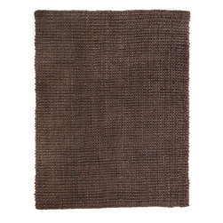 Everest Chocolate Jute Rug - Jute brings a magnificent, chunky texture to any space. These rugs are expertly handloom-woven by skilled weavers who employ a variety of traditional techniques to create these simply beautiful styles. Jute fibers exhibit naturally anti-static, insulating and moisture regulating properties. It is predominantly farmed by approximately four million small farmers in India and Bangladesh and supports hundreds of thousands of workers in jute manufacturing (from raw material to yarn and finished products).