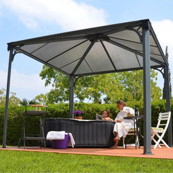 Palram - Palram Palermo 3000 Gazebo - 10 x 10 ft. - Gray / Bronze - HG9150 - Shop for Gazebos from Hayneedle.com! Create a sanctuary in your own backyard with the stylish design of the Palram Palermo 3000 Gazebo - 10 x 10 ft. - Gray / Bronze. This attractive gazebo is crafted with a durable aluminum frame and given a powder-coat finish that resists the weather and fading. Its twin-wall polycarbonate roof is strong and offers ample cover. Other features include channels for curtains or mosquito netting and rain gutters with downspouts so you can continue your outdoor experience even when Mother Nature has other plans. Easy to assemble and includes anchors. Ten-year limited warranty.About Palram Industries LTD.Over 45 years of experience makes Palram one of the world s largest and most advanced manufacturers of polycarbonate PVC Acrylic and other thermoplastic sheets for a variety of industries including construction graphics and display architecture and for the do-it-yourself market (DIY). The company has manufacturing facilities in Israel USA England Germany China and Russia. Palram integrates high quality materials a spectrum of technologies and diligent novelties state-of-mind to manufacture valuable products for do-it-yourselfers.