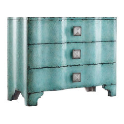 Hooker Furniture - Melange Turquoise Crackle Chest - White glove, in-home delivery included!  Create a buzz at your house with this curvy, glamorous Turquoise Crackle Chest.  Three drawers (wallpapered interior).