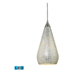 Elk Lighting - Elk Lighting 546-1SLV-LED Curvalo 1-LED Light Pendant W/ Silver Crackle -1SLV - Elk products are highly detailed and meticulously finished by some of the best craftsmen in the business.