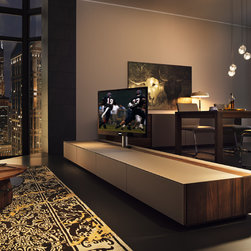 Cubus luxury walnut room divider - ​An amazing TV cabinet that allows you to rotate your screen. It even allows you to rotate it in the opposite direction. Ideal as a room divider.