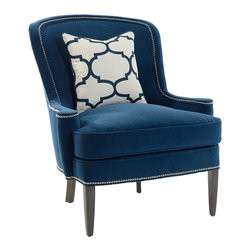 Southwood - Southwood Blue Studded Crescent Chair -
