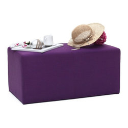 NYFU - Park Ottoman-Purple - Our grand Park Ottoman serves as a cushy footrest, serving the feet of up to four of your closest friends.This rectangular fabric ottoman easily serves as a bench seat for two people. Class A HR-35 foam allows high-comfort seating, while providing a durable form. The plum purple makes a bold statement in your room, while going extremely well with light grey or grey anthracite sofas or armchairs.
