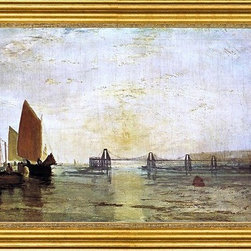 """Joseph William Turner-14""""x28"""" Framed Canvas - 14"""" x 28"""" Joseph William Turner The Chain Pier, Brighton framed premium canvas print reproduced to meet museum quality standards. Our museum quality canvas prints are produced using high-precision print technology for a more accurate reproduction printed on high quality canvas with fade-resistant, archival inks. Our progressive business model allows us to offer works of art to you at the best wholesale pricing, significantly less than art gallery prices, affordable to all. This artwork is hand stretched onto wooden stretcher bars, then mounted into our 3"""" wide gold finish frame with black panel by one of our expert framers. Our framed canvas print comes with hardware, ready to hang on your wall.  We present a comprehensive collection of exceptional canvas art reproductions by Joseph William Turner."""