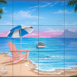 The Tile Mural Store (USA) - Tile Mural - Exotic Beach - Jw - Kitchen Backsplash Ideas - This beautiful artwork by Jeff Wilkie has been digitally reproduced for tiles and depicts a calm sea and a chair on the beach  Beach scene tile murals are great as part of your kitchen backsplash tile project or your tub and shower surround bathroom tile project. Waterview images on tiles such as tiles with beach scenes and sunset scenes on tiles.  Tropical tile scenes add a unique element to your tiling project and are a great kitchen backsplash  or bathroom idea. Use one or two of our beach scene tile murals for a wall tile project in any room in your home for your wall tile project.