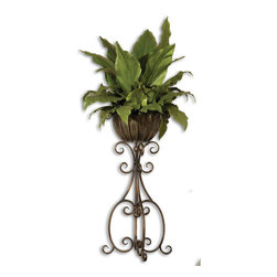 Uttermost - Costa Del Sol Potted Greenery - Lush And Vibrant Tropical Foliage Potted In A Scrolled, Hand Forged Iron Pedestal In Burnished, Copper Bronze Finish With Removable Planter Insert.