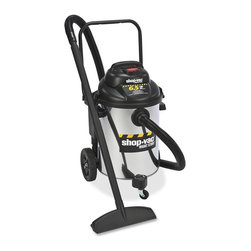 Shop-Vac - Shop-Vac Economy 10 Gallon Stainless Wet/Dry Vacuum, 4.85 kW Motor - Quiet wet/dry vacuum offers a powerful, 6.5 peak HP motor; 18' cord; 10-gallon stainless steel tank; blower feature; and onboard accessory storage. High airflow is perfect for moderate use in general-purpose applications. Accessories include a 1-1/2 diameter x 12' long Lock-on positive connection hose, two 1-1/2 extension wands, 14 floor nozzle, 16 blow-molded crevice tool, claw nozzle, UltraWeb cartridge filter and high-efficiency, collection filter bag.