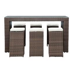 East End Imports - 7-piece Outdoor Wicker Patio Pub Set - Whether your outdoor space is 1950s Havana, Caribbean chic, upscale Palm Beach, or laid back Hanalei, this 7-piece outdoor set will fit right in. Sit yourself down on one of the columnar cushioned seats and request yours with an umbrella. The glass-topped table will reflect nothing but good times had by all.
