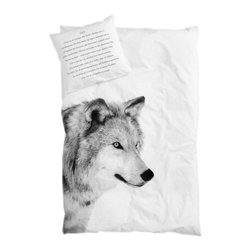 SNOKU - Bed Linen Wolf - Pure organic, simple and cozy duvet with wolf print.